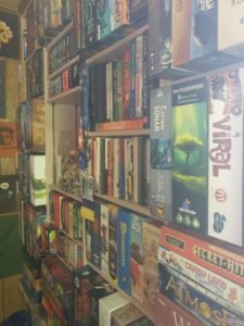 board games on shelves