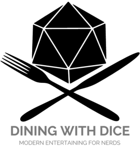 d20 with crossed cutlery; dining with dice modern entertaining for nerds